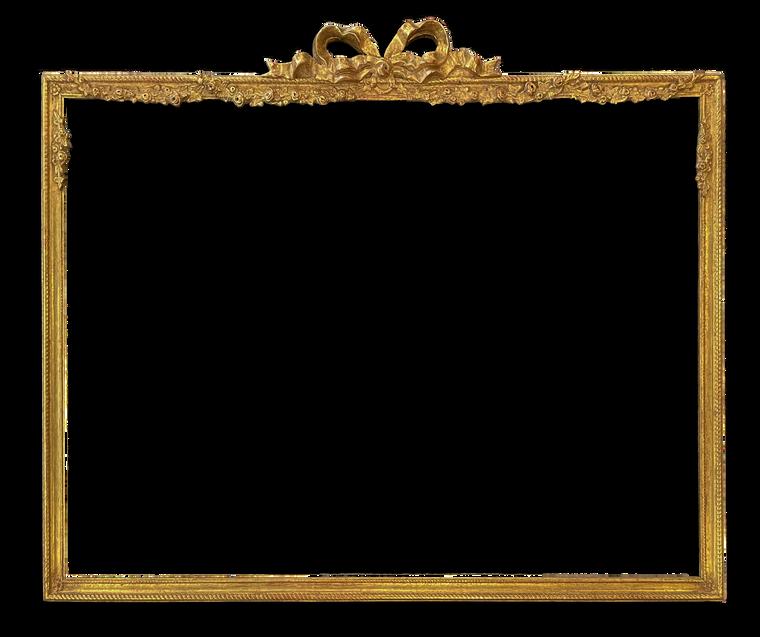 "1 3/4"" wide - 26"" x 36"" composition / carved frame gilded in genuine 22k gold"