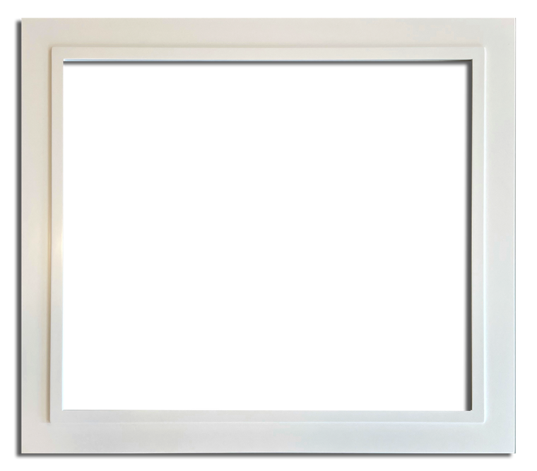 """3 1/2"""" - 39"""" x 34"""" Closed Corner Solid Wood Satin White Picture Frame"""