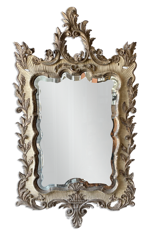 Hand Carved Ornate Framed Mirror - 12k White Gold and Painted Finish Combination