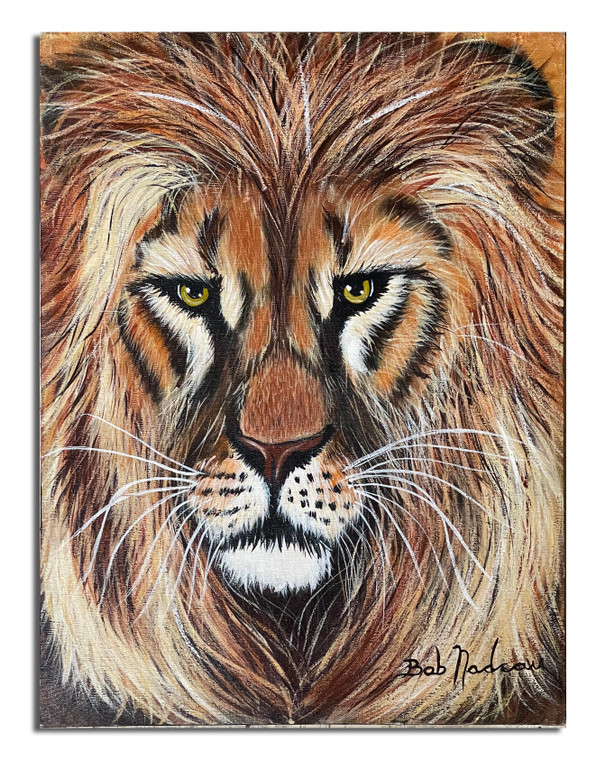 """Lion's Head Painting 18"""" X 24"""""""