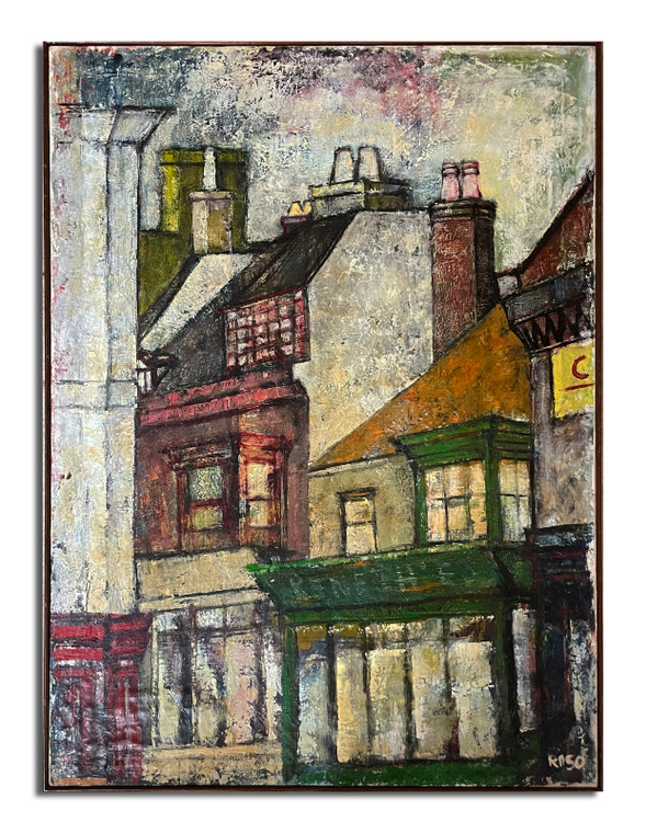 """Oil on canvas by Alberto Raso 27 1/2"""" X 37"""" set in Yarmouth, England"""