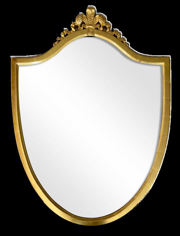 Shield Shape Framed Mirror Water Gilded In Geuine 22K Gold Leaf