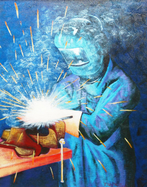 'Welder' Signed Reproduction Print by David Renwick.