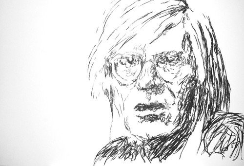 """Feliks Culpa works at the fault line of figuration and conceptualism - in charcoal and ink. Warhol is one of a series of 14 drawings depicting a lunchtime encounter between Andy Warhol and William Burroughs at the Chelsea Hotel in the early 1980s. Breaking bread and drinking wine, the Naked Lunch / Last Supper series includes Andy eating Hare while wearing his Walkman, pre-dating the current etiquette for texting and checking status updates whilst dining, and William signing books. Famed for their cut-up, copy and pasting techniques the pair were also responsible for a few choice predicative texts: """"When you cut into the present the future leaks out"""" – W.S. Burroughs """"In the future, everyone will be world-famous for 15 minutes"""" – A. Warhol"""