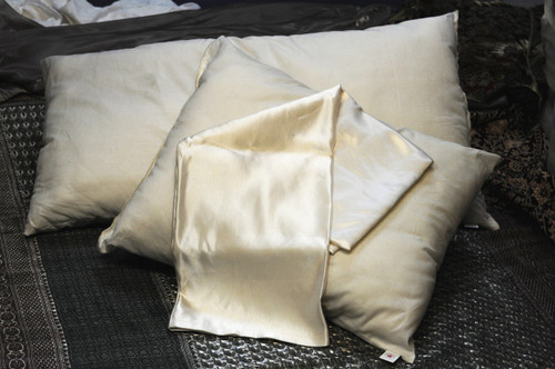 Hemp and Silk Satin Pillowcase Made by Hand in USA new white washable
