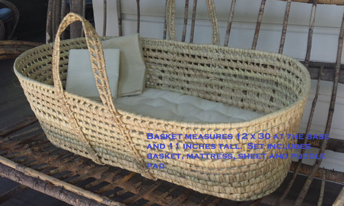MOSES BASKET SET - Mattress, Hemp-Organic Cotton Sheet, Basket, Puddle Pad