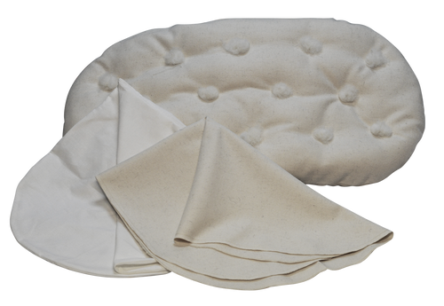 BASSINET SET w/ Hand-made Eco-Wool Filled Mattress, Organic Wool Puddle Pad, Hemp Cotton Sheet - Natural New Chemical Free