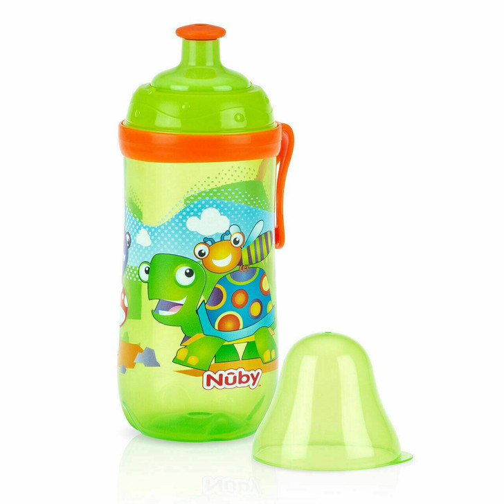Nuby Pop Up Cup Baby Stage 2 Silicone Spout with Snap On Cap Toddler Trainer