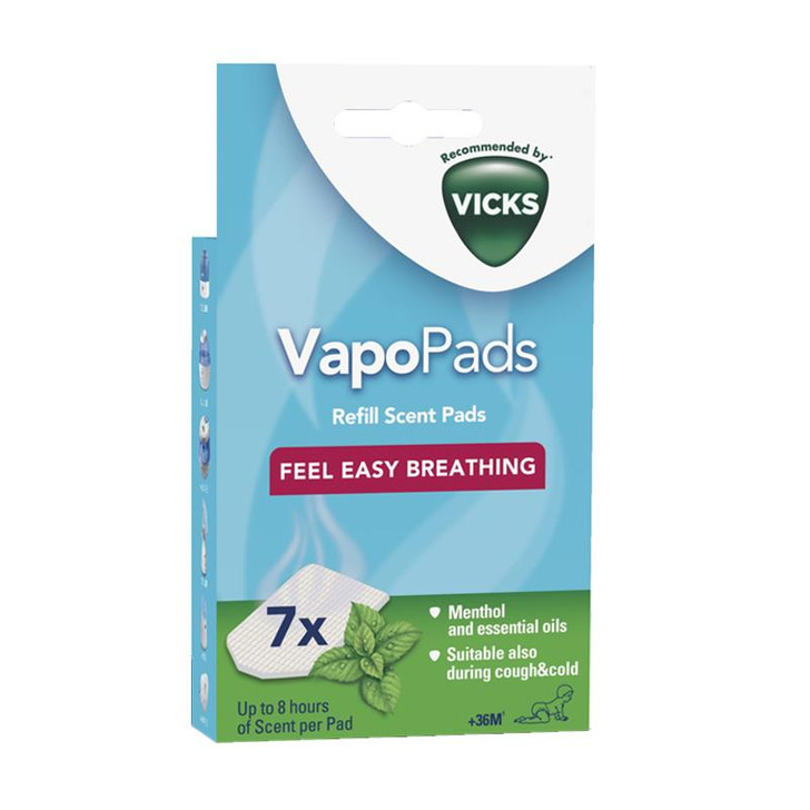 Vicks VapoPads Menthol│Scented Pads with Essential Oils│VH7│Pack of 7