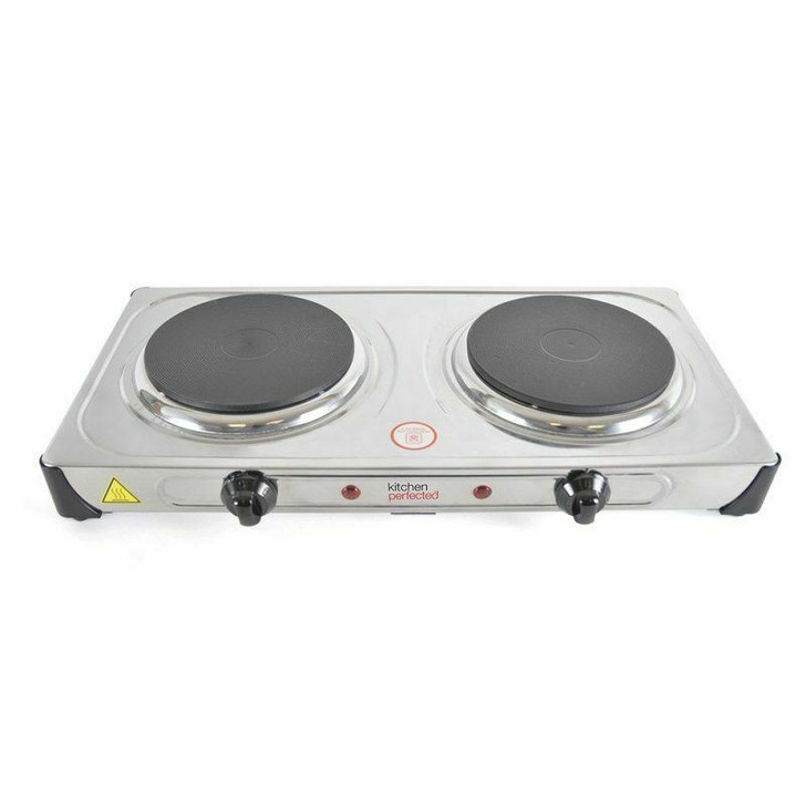 Lloytron KitchenPerfected 2000w Double Induction Cast Iron Hotplate Stain.Steel
