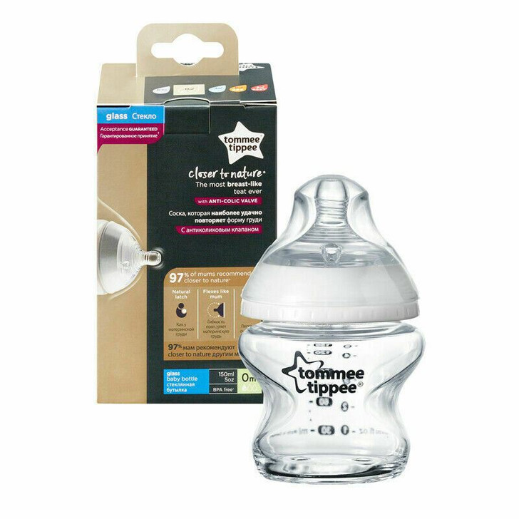 Tommee Tippee Closer to Nature Glass Bottle 150ml|Natural Baby Feeding|+0Months