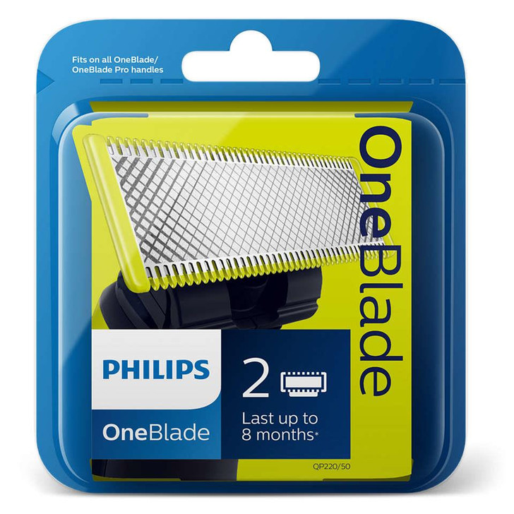 Philips OneBlade Replacement Heads Blades x2│Fits on all Shaver Trimmer Handles