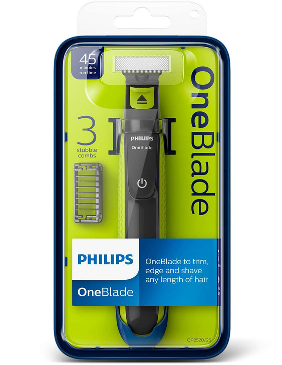 Philips OneBlade Wet Dry Facial Trimmer Shaver│45 Min Run Time│3 Combs│QP2520/25