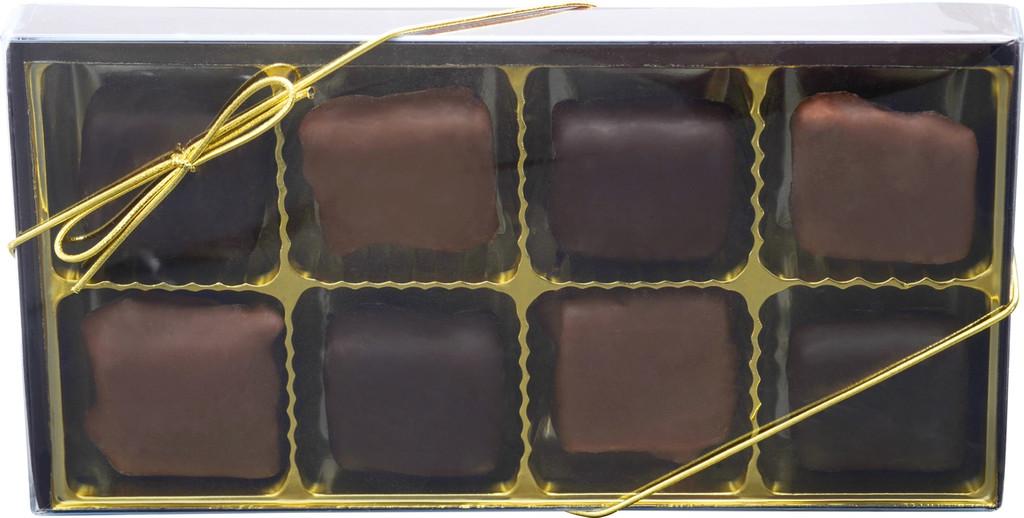 Chocolate Peanut Butter Pretzel Bites Gold Gift Box