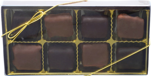 Chocolate Peanut Butter Pretzel Bites Gold Gift Box