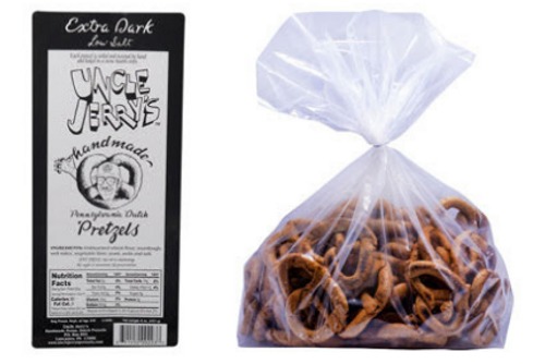 For those who crave the well-done snack, here's your pretzel. The Extra Dark variety has set us apart because of its unique finish: slow-baked to a darkened, toasted crunch.  This low sodium item is sold in a 3lb bulk bag.