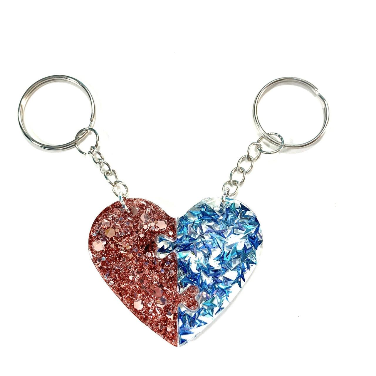 Resin Puzzle Keychain Hearts