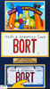 The Simpsons BORT License Plate Set closer view