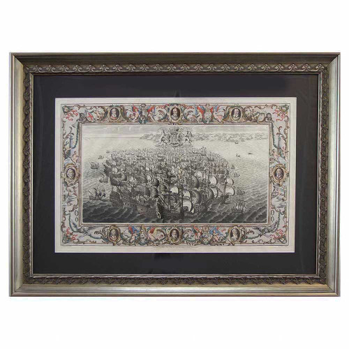 John Pine; Naval Engagement (from the Tapestry Hanging of the House of Lords, after C Lempriere) Plate I