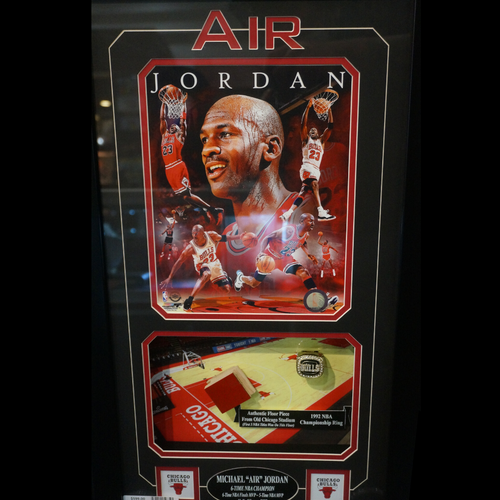 Michael Jordan Framed Set - 92' Replica Champ Ring & Stadium Floor Piece