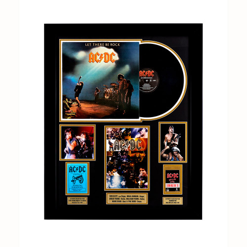 AC/DC Memorabilia - Record and Backstage Passes framed