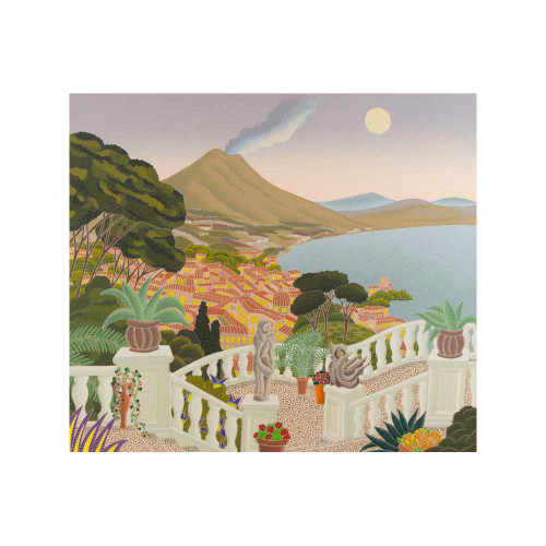 Thomas McKnight, View of Vesuvius, Southern Italy, serigraph, limited edition, signed