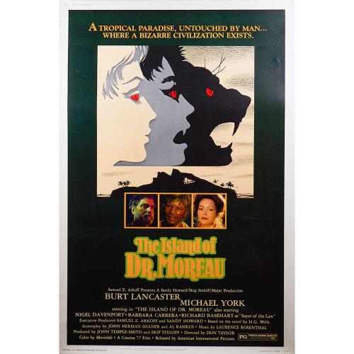 The Island of Dr. Moreau, Burt Lancaster, Michael York, H.G. Wells, movie, movie posters, posters