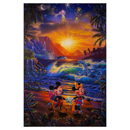Christian Riese Lassen, Disney, Seaside Romance, Mickey Mouse, Minnie Mouse, canvas, giclee, limited edition