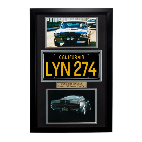 """Gone in 60 Seconds"" Movie Memorabilia - 1967 Mustang License Plate Framed"