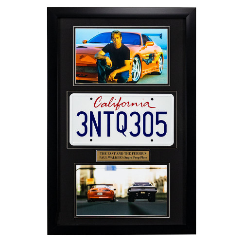 """""""The Fast and the Furious"""" Movie Memorabilia - Paul Walker License Plate Framed"""
