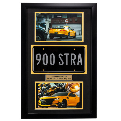 """Transformers"" Movie Memorabilia - Bumblebee License Plate Framed"