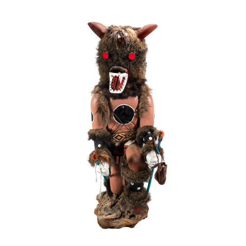 Kweo The Wolf- Native American in Wolf Mask Wood Carving/Sculpture Thumb