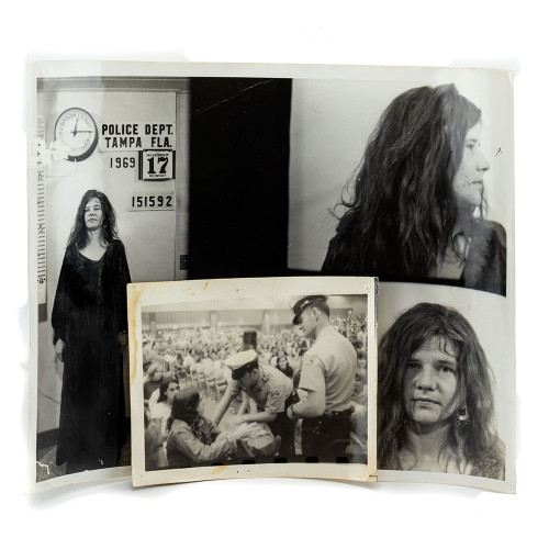Janis Joplin Thumb- Front view of mug shot and proof of officers at concert.