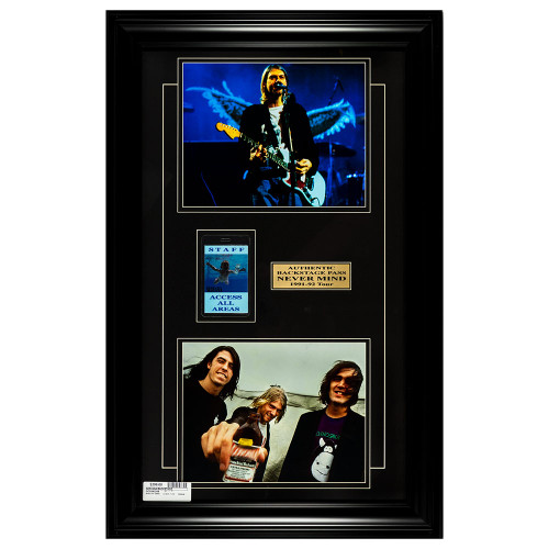 Nirvana w/ 1991 Nevermind Backstage Pass Wall Art thumbnail