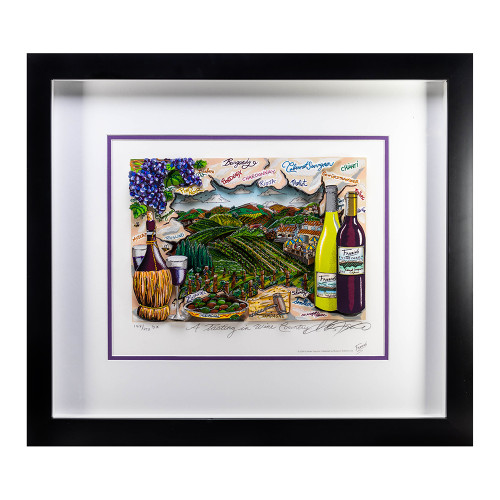 3-D Artwork by Charles Fazzino - A Tasting in Wine Country thumb