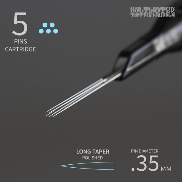 5 Saltwater Tattoo Supply Cartridge Tips - Magnum Shaders Closed