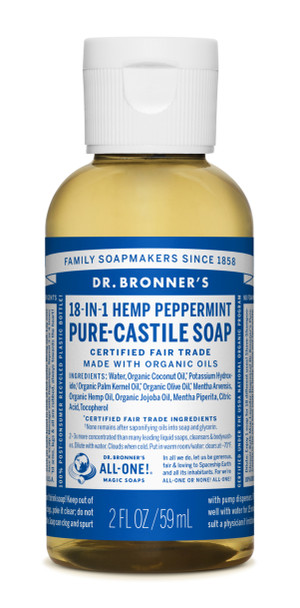 Dr Bronner's Peppermint Castile Liquid Soap - 2oz