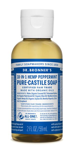 Dr Bronner's Peppermint Castile Liquid Soap - 2oz