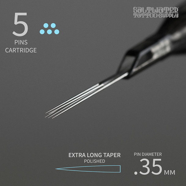5 Cartridge Tips - Magnum Shaders Extra Long Taper