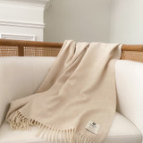 Merino Lambswool Supersoft Blanket - Linen Herringbone