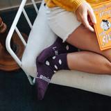 Lamington Crew Length Merino Wool Socks Woman - Mulberry
