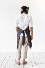 MagicLinen Men's Linen Apron - Charcoal Grey
