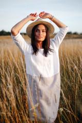 Adria Linen Dress White-Natural Colour Block