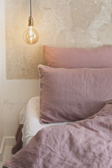 MagicLinen Pom Pom Trim Linen Pillowcase - Woodrose