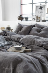 MagicLinen Twin Duvet and Cover Set - Charcoal Grey