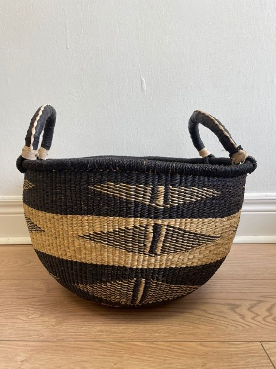 Elephant Grass Large Storage Basket with Two Handles #4