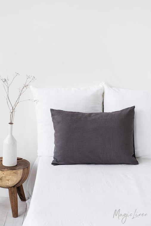 MagicLinen Queen Sized Pillowcase Cover - Charcoal Grey