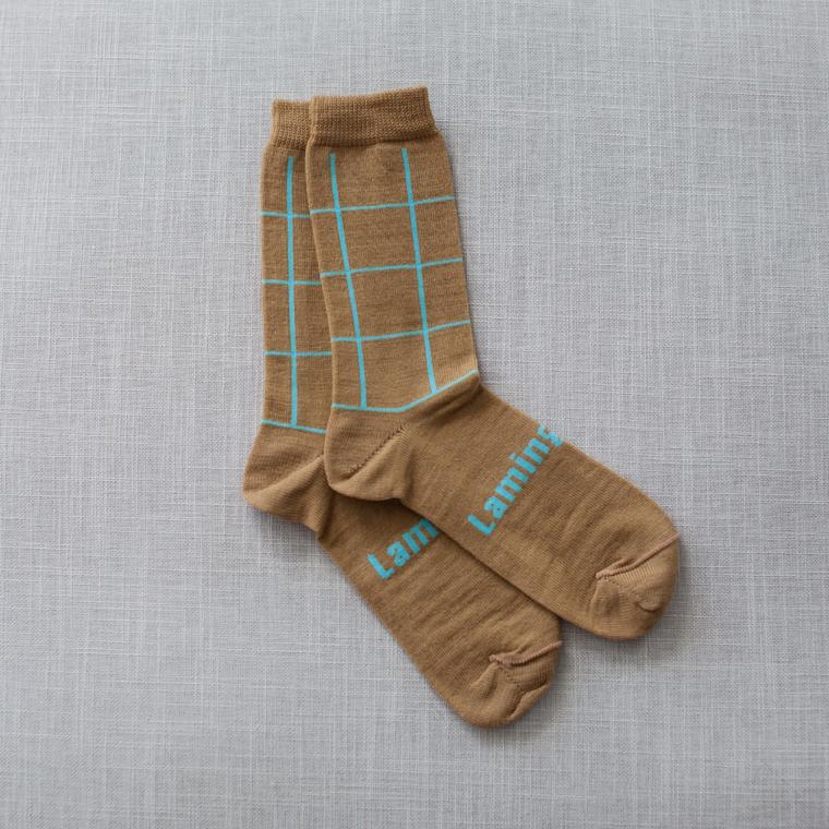 Lamington Crew Length Merino Wool Socks Man - Nile (Camel with Teal Check)