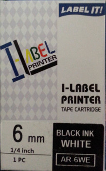 Label Printer Tape Casio - 6mm BLACK on White 8 metre Casio AR6WE