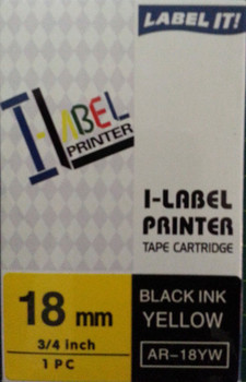 Label Printer Tape Casio 18mm BLACK on Yellow Clear 8 metre Casio AR18YW + FREE SHIPPING